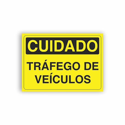 Placa de Sinalização Poliestireno (PS) 2mm - Cuidado Tráfego de Veículos