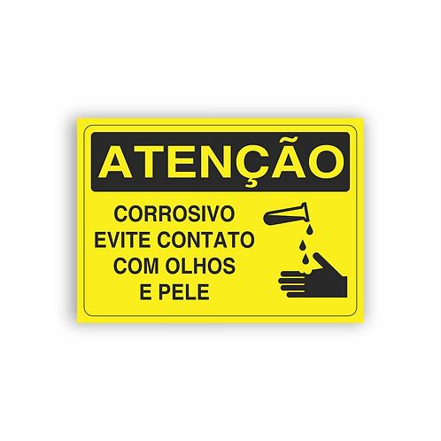 Placa de Sinalização Poliestireno (PS) 2mm - Atenção Corrosivo Evite Contato