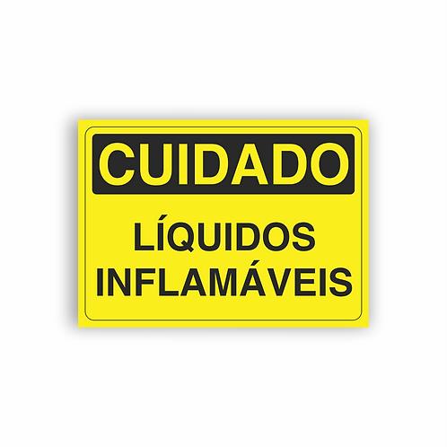 Placa de Sinalização Poliestireno (PS) 2mm - Cuidado Líquidos Inflamáveis