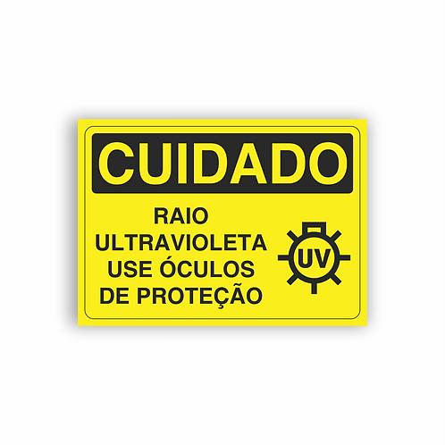 Placa de Sinalização Poliestireno (PS) 2mm - Cuidado Raio Ultravioleta