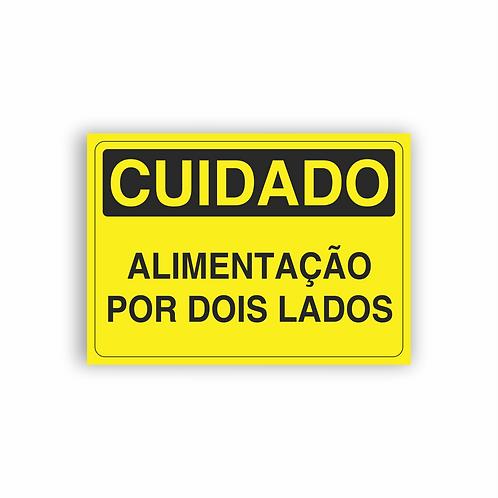 Placa de Sinalização Poliestireno (PS) 2mm - Cuidado Alimentação Por Dois Lados