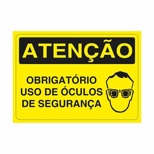 Placas de Sinalização - Obrigatório Uso de Óculos de Segurança