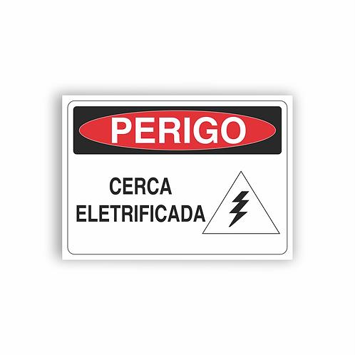 Placa de Sinalização Poliestireno (PS) 2mm - Perigo Cerca Eletrificada