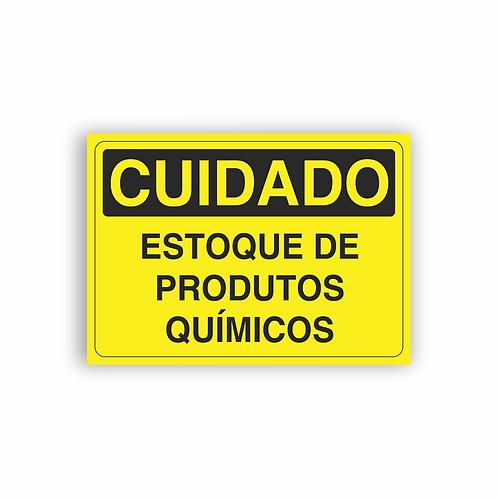 Placa de Sinalização Poliestireno (PS) 2mm - Cuidado Estoque de Produtos Químico