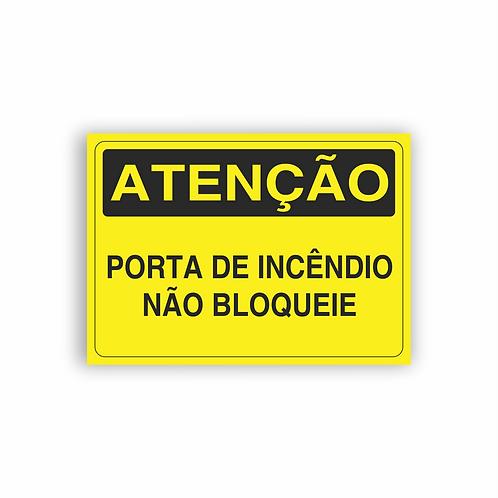 Placa de Sinalização Poliestireno (PS) 2mm - Atenção Porta de Incêndio
