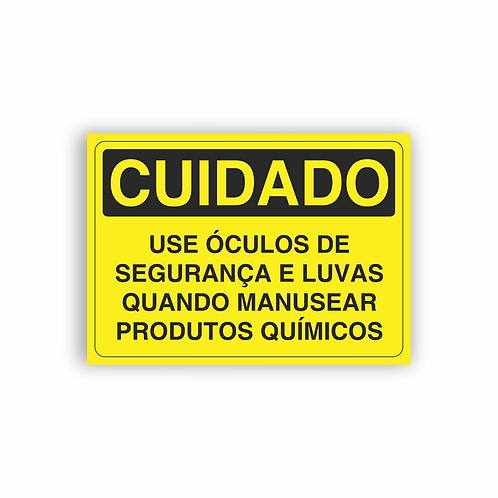 Placa de Sinalização Poliestireno (PS) 2mm - Cuidado Use Óculos de Segurança