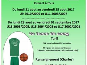 Août 2017 la 11ème édition du Camp Basket