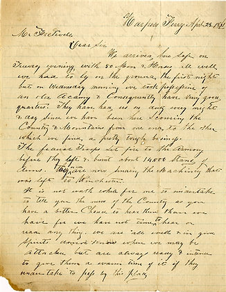 1st Virginia Cavalry Early War Letter