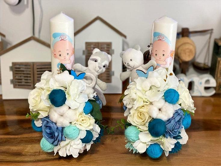 Lumanari de botez cu flori artificiale