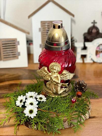 Aranjament cu o candela mare si decoratiuni - Cod: Funerar2