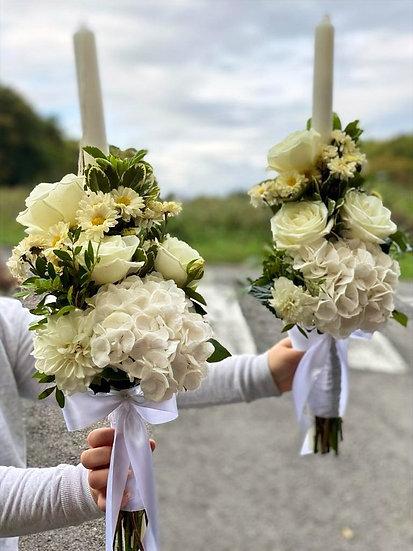 Lumanari cununia religioasa cu aranjamente florale