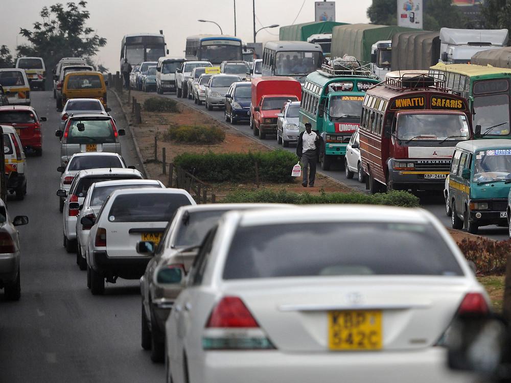 Heavy traffic jam in Nairobi, Kenya