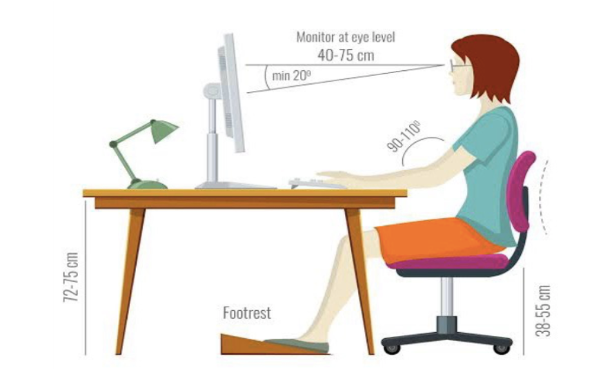 adjust sitting posture according to your height & keep in mind that hip joint should be higher than knee joint