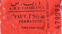 Ticket A.B.C. Casablanca