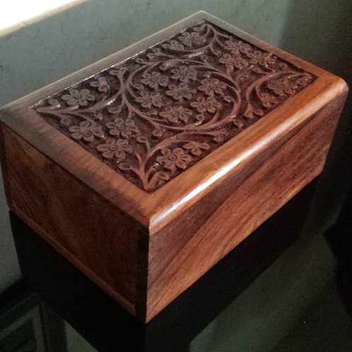 CARVED HARDWOOD URN $40.00 for all sizes