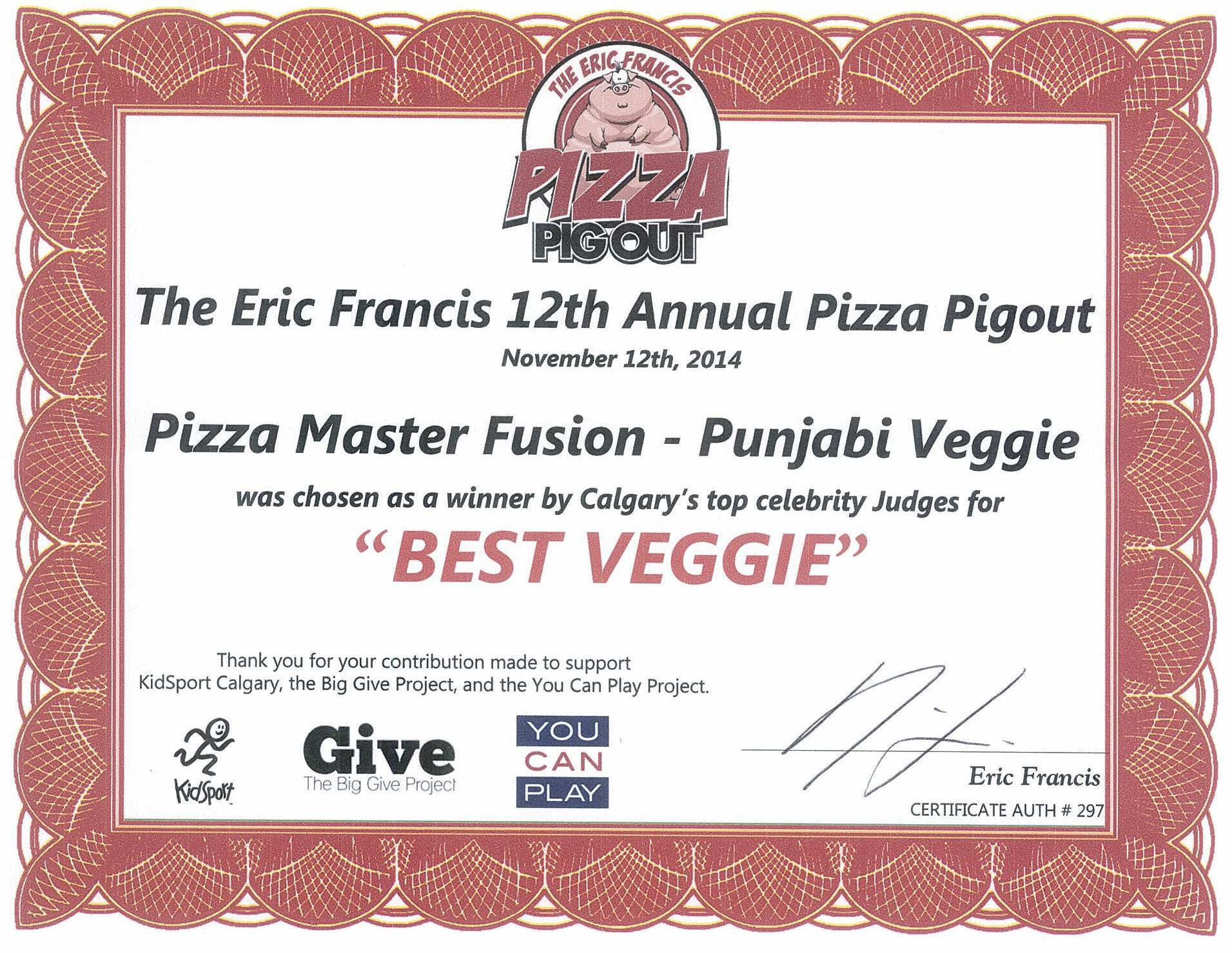 2014 - Pizza Pigout - Best Veggie