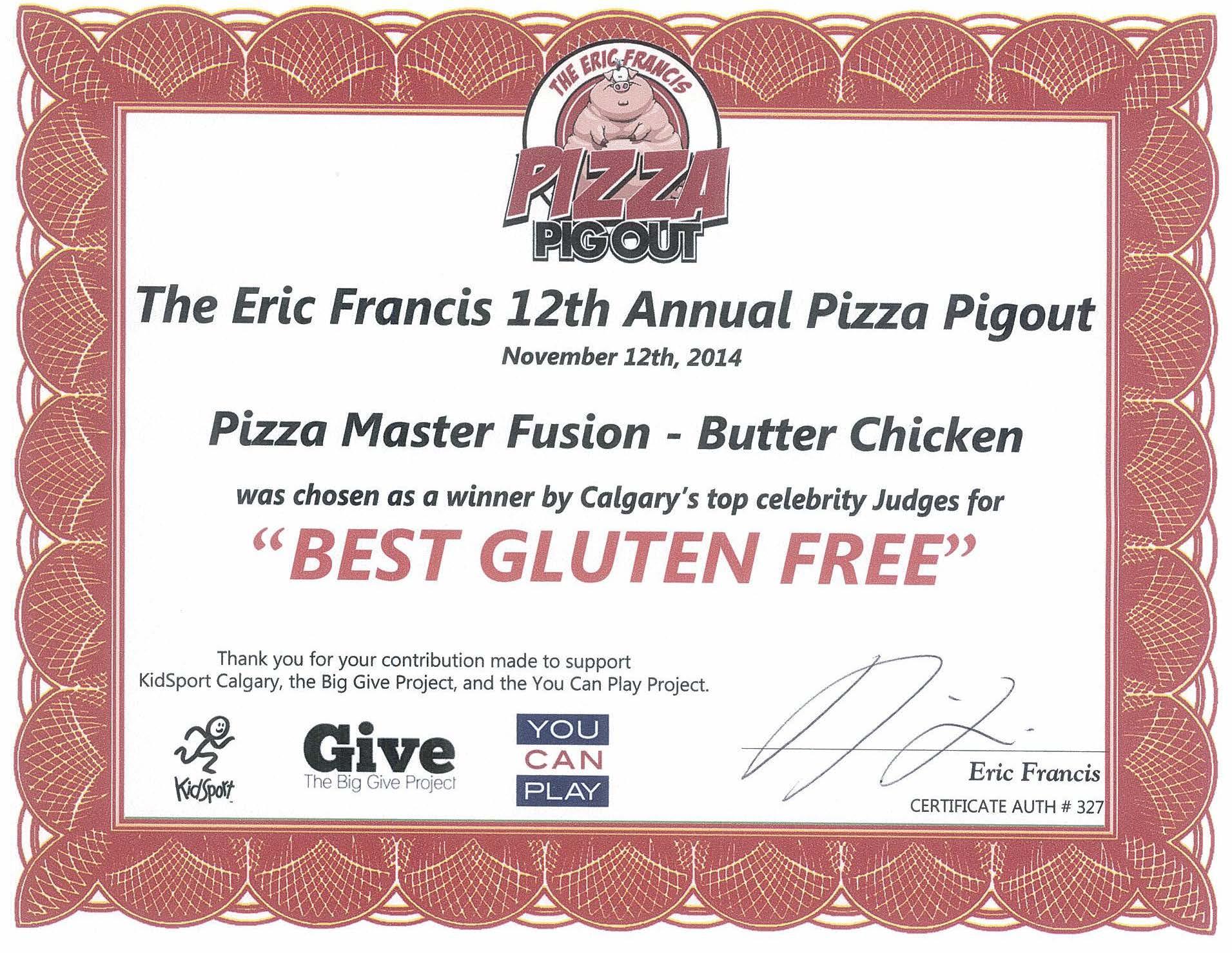 2014 - Pizza Pigout - Best Gluten-Free (BC)