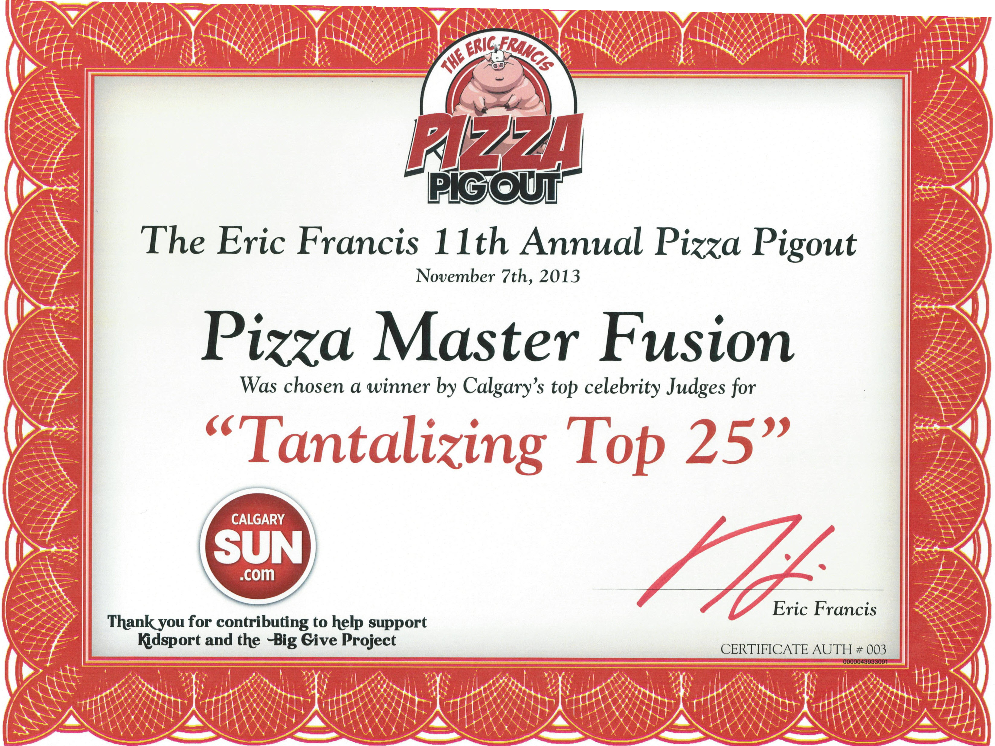 2013 - Pizza Pigout - Top 25
