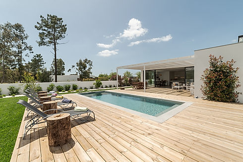 Modern villa with pool and deck with int