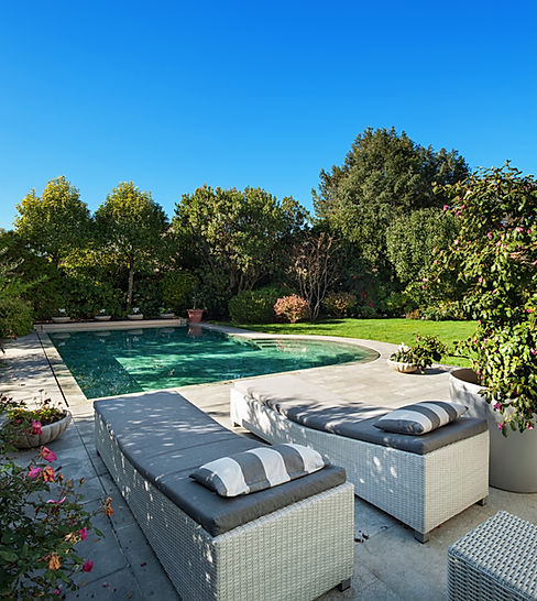 Architecture; beautiful garden with pool