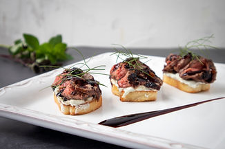 Balsamic Flank Steak Crostini with Blue
