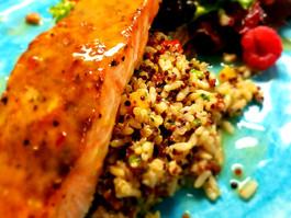 LNR cold asian glaze salmon over cous co