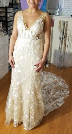 Lace Champagne Wedding Gown