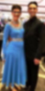 Sue Tenney & Tony Karadzhov in Blue Standard Ballroom Gown