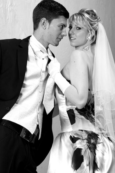 Brautkleid, Seide mit Blumendruck