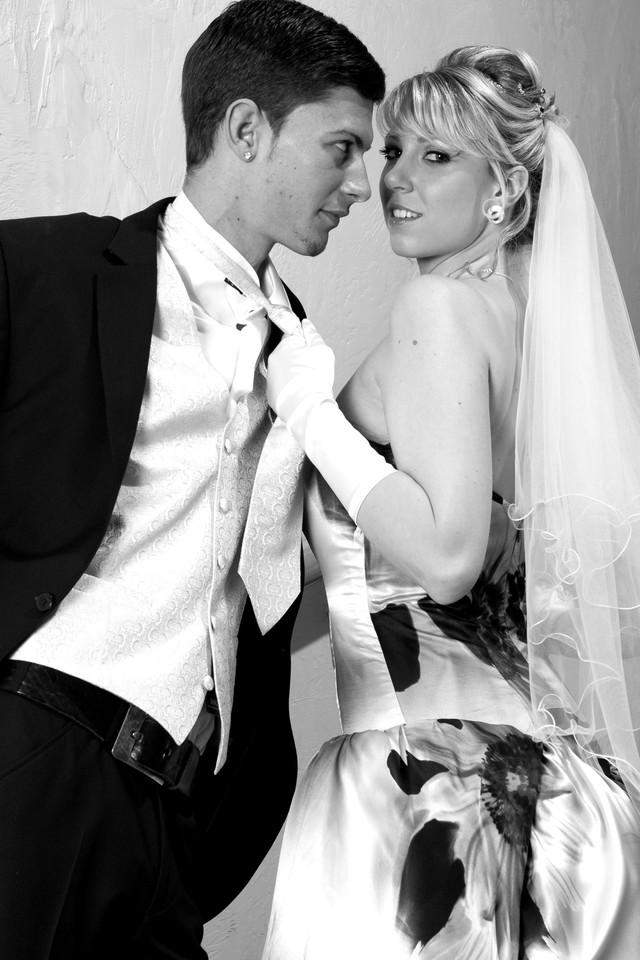 Bridal dress, silk with floral print