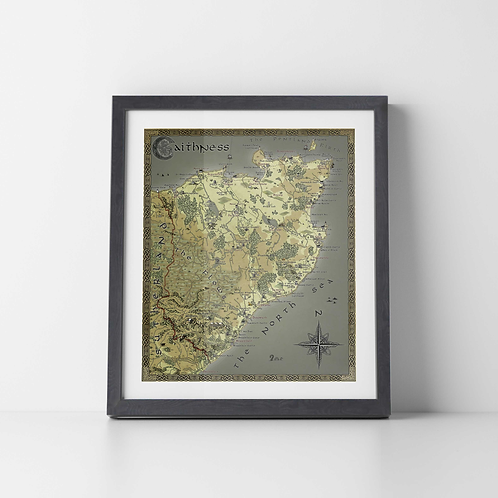LARGE Caithness Fantasy Map Print (Unframed)