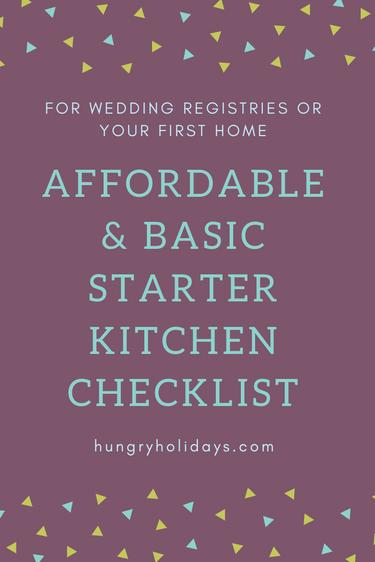 Affordable + Basic Starter Kitchen Checklist- Wedding Registry or First Home Checklist