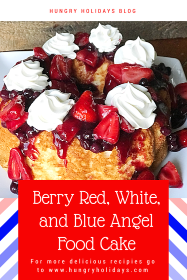 Berry Red, White, and Blue Angel Food Cake