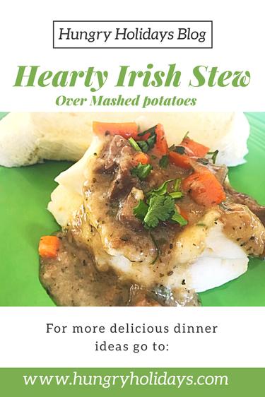 Hearty Irish Stew over mashed potatoes