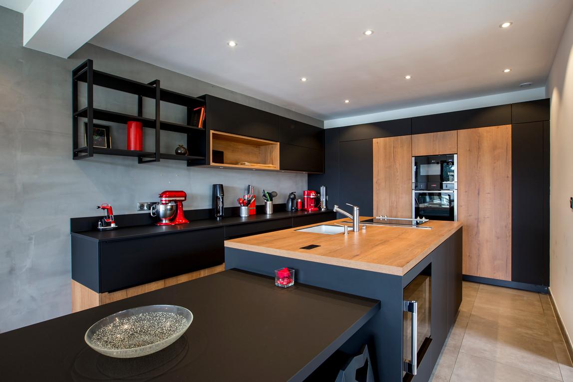 cuisine design noir et bois