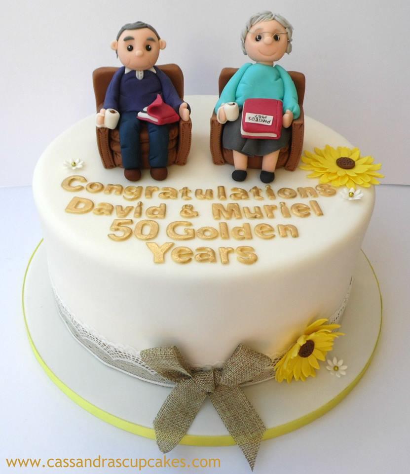 Golden Wedding cake with handmade figures