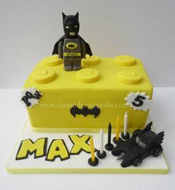 Batman Lego themed birthday cake handmade figures and car