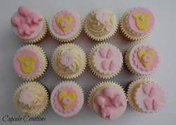 Baby Shower Cupcakes for Twin Girls.