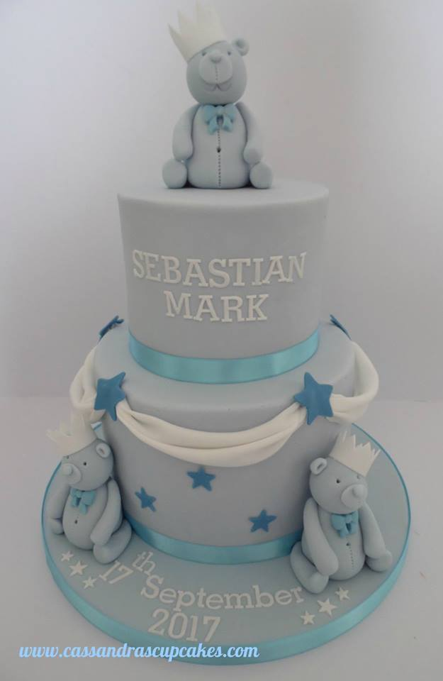 Pale blue teddy themed christening cake