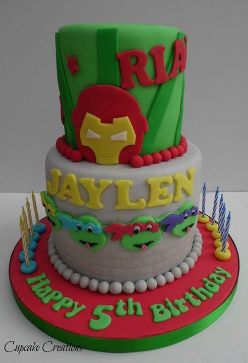 Iron Man & Turtles Cake