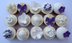 Lilac and white pretty themed cupcakes