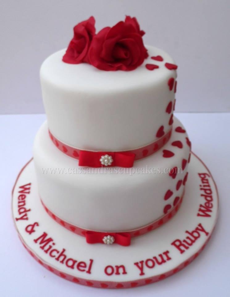 2 Tier Ruby Wedding Anniversary Cake