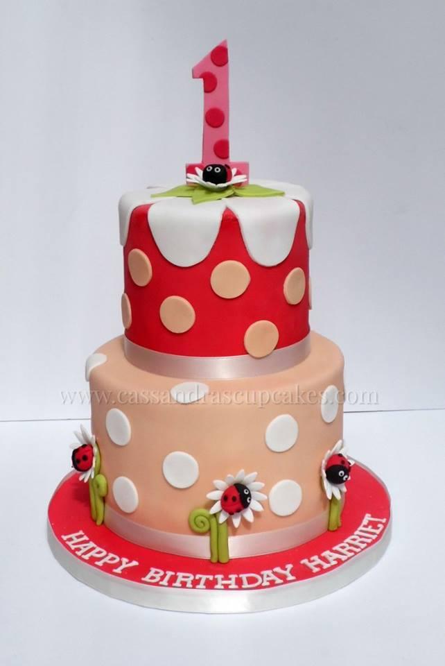 Spotty Ladybird 1st Birthday Cake