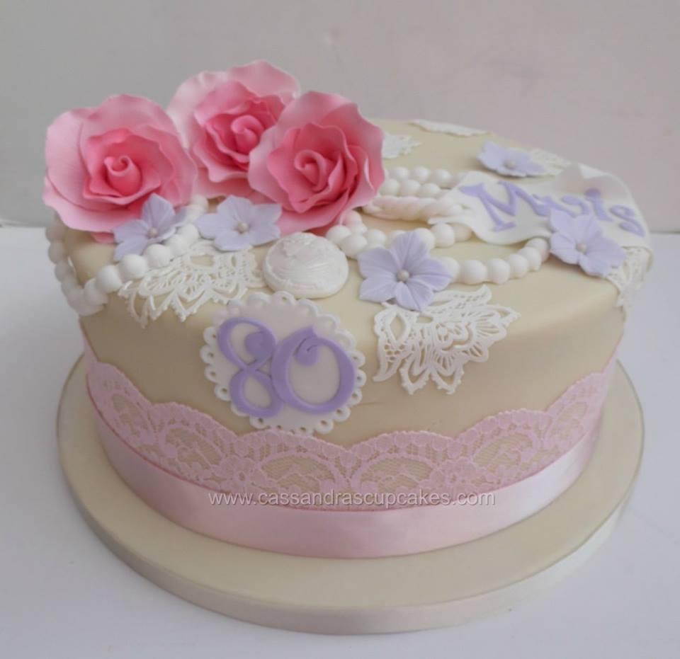 80th Vintage Themed Birthday Cake