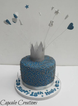 18th Birthday cake with handmade edible crown