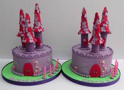 Sleeping beauty castles for two little girls celebrating their 5th birthdays