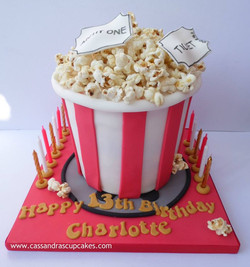 Bucket of popcorn cake