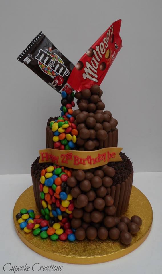 Chocolate Malteaser & M&M Gravity Birthday Cake