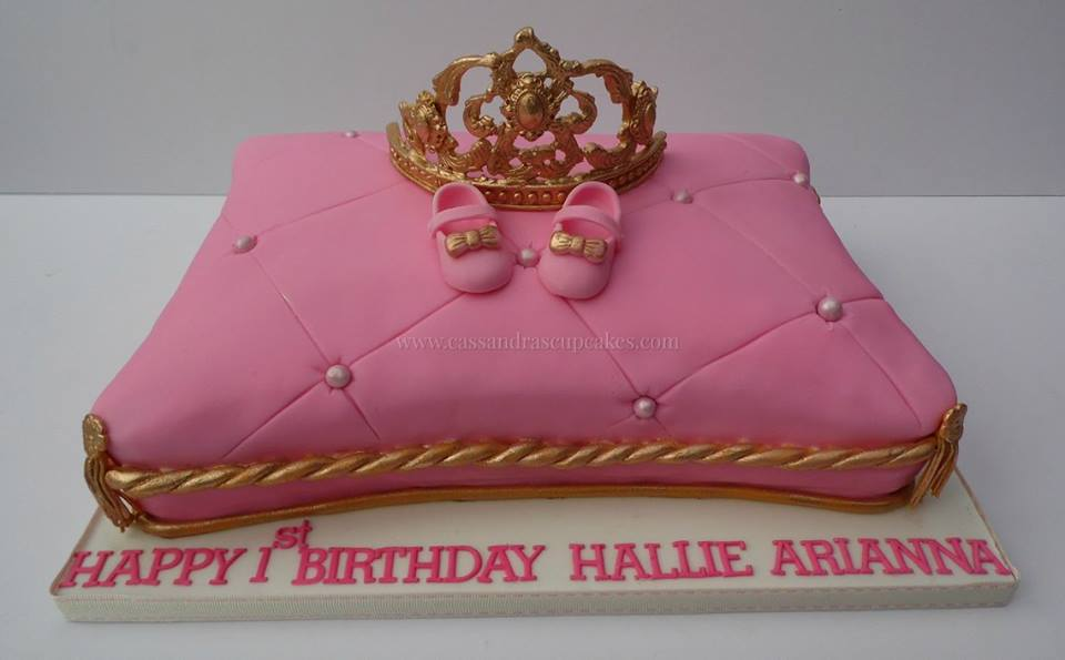 pink Pillow Cake with hand made crown and shoes
