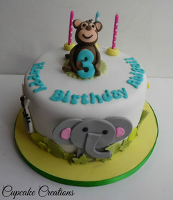 Jungle Themed 3rd Birthday Cake